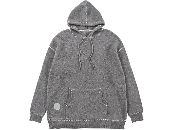Alternative image view of LONG KNIT HOODIE, MID GREY