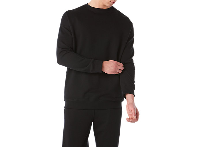 Front Top view of BL Sweat Crew, PERFORMANCE BLACK