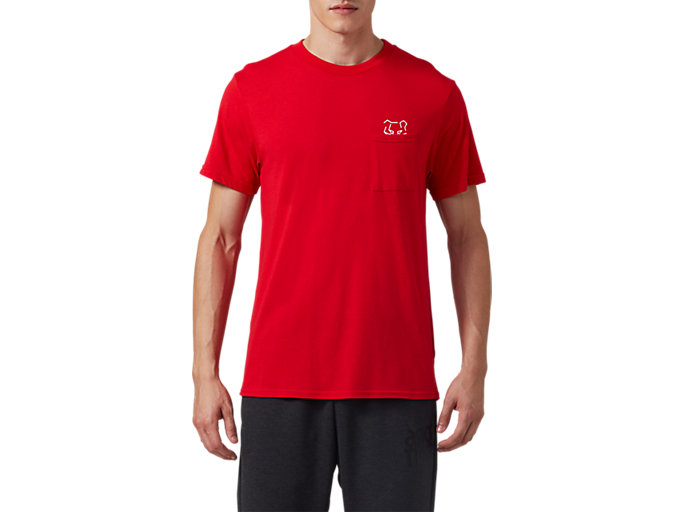 Front Top view of DT Pkt SS Tee, CLASSIC RED