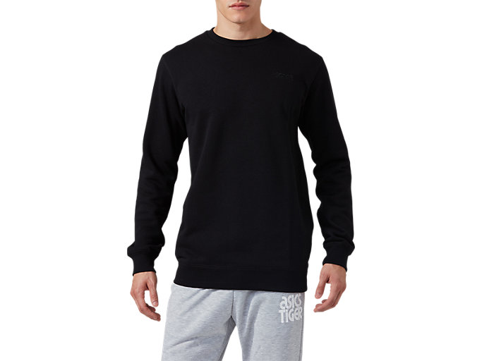 Front Top view of OP Crew Sweat, PERFORMANCE BLACK