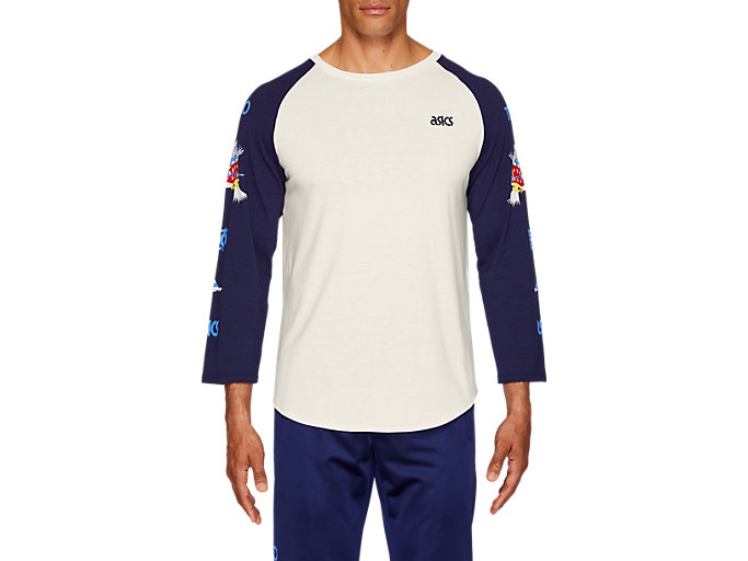 Front Top view of Jersey Baseball 3/4 Sleeve Tee