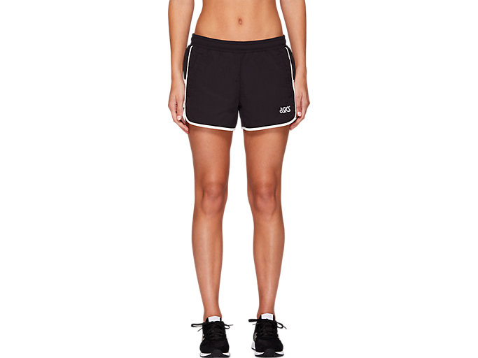 Front Top view of W WVN SPORTS MOMENT SHORTS, PERFORMANCE BLACK