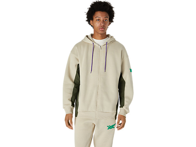 Alternative image view of BRUSHED FRENCH TERRY FULL ZIP HOODIE, Putty