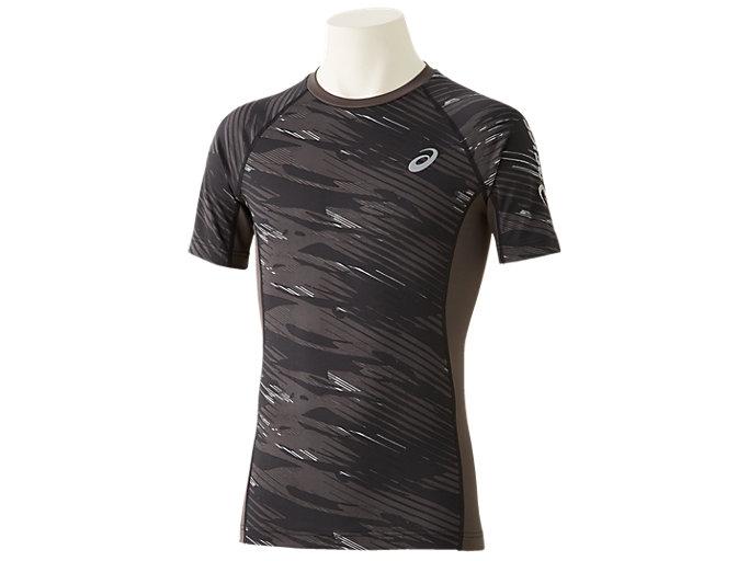 Front Top view of ウィンジョブ®ハーフスリーブシャツ, パフォーマンスブラック×ダークグレー