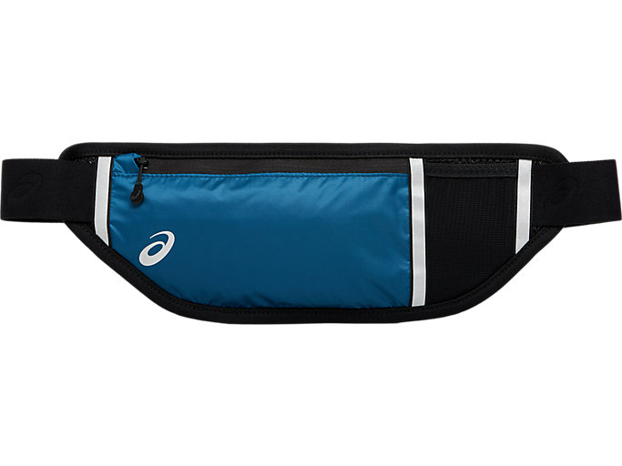 Front Top view of RUN WAIST POUCH, mako blue