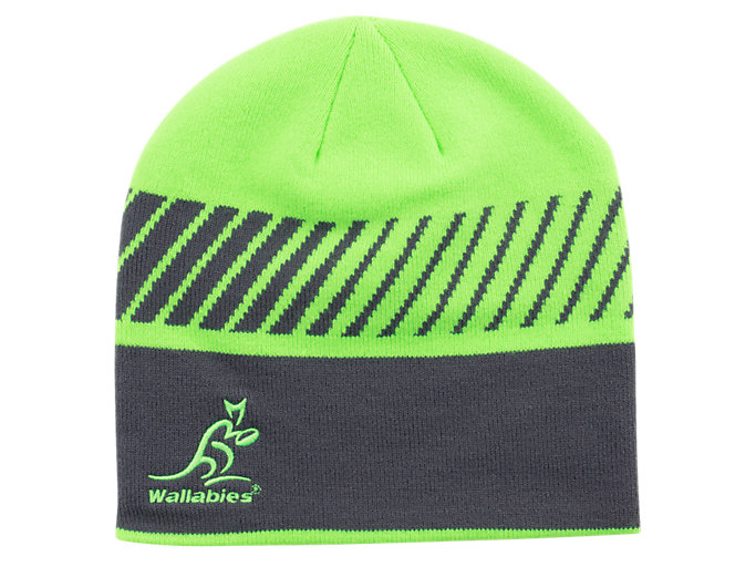 Front Top view of WB BEANIE, GREEN GECKO