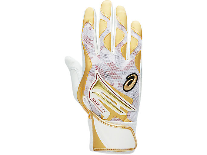 Alternative image view of GOLDSTAGE バッティング用手袋, White/Gold