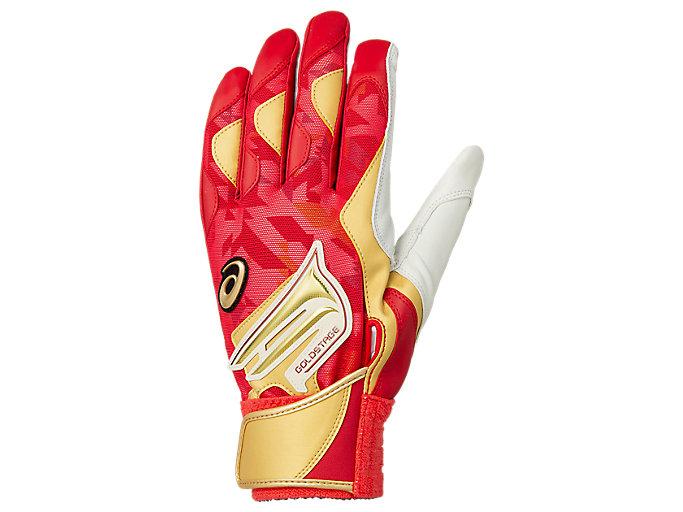 Alternative image view of GOLDSTAGE バッティング用手袋, レッド×ゴールド