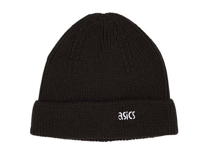 Front Top view of One Point Knit Beanie, PERFORMANCE BLACK
