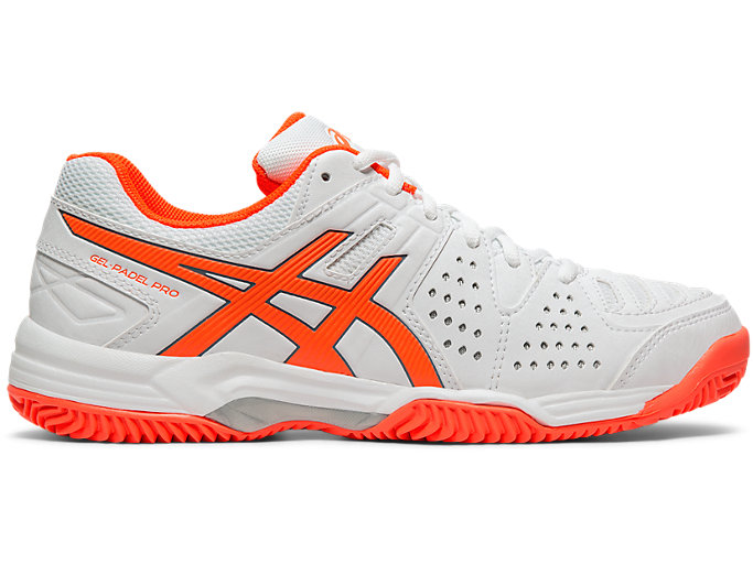 Right side view of GEL-PADEL PRO 3 SG, WHITE/FLASH CORAL