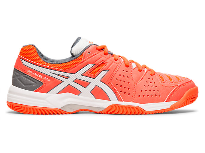Right side view of GEL-PADEL PRO 3 SG, FLASH CORAL/WHITE