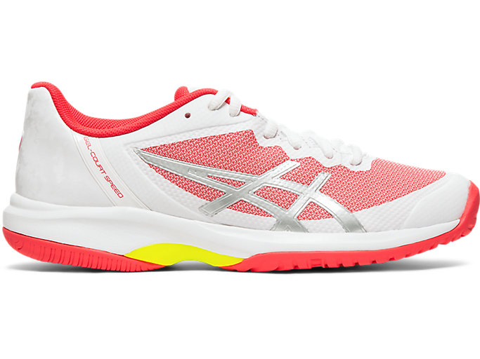 Right side view of GEL-COURT SPEED, WHITE/LASER PINK