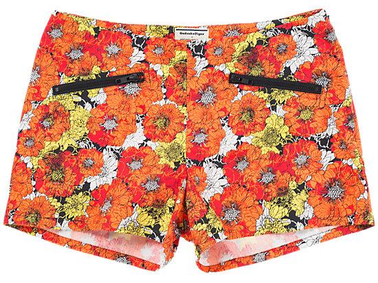 女士印花短裤 橙色印花
