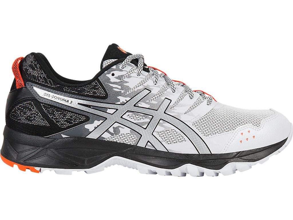 Men's GEL-Sonoma 3   White/Silver/Hot Orange   Trail Running   ASICS