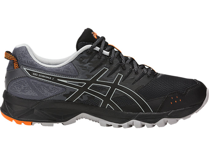 Right side view of GEL-SONOMA 3, BLACK/MID GREY/CARBON