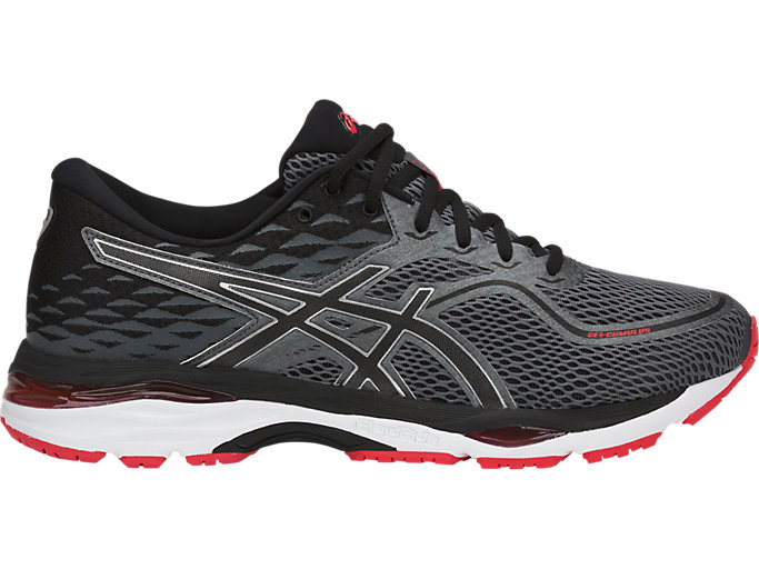 Right side view of GEL-CUMULUS 19, BLACK/CARBON/FIERY RED