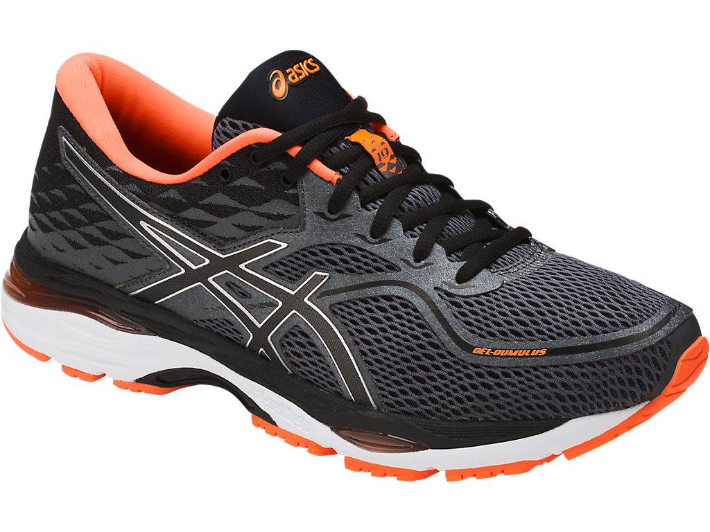 Men's GEL-Cumulus 19   Carbon/Black/Hot Orange   Running Shoes   ASICS