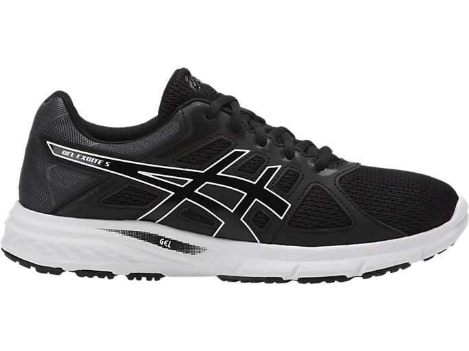 Right side view of GEL-EXCITE 5, BLACK/BLACK/WHITE