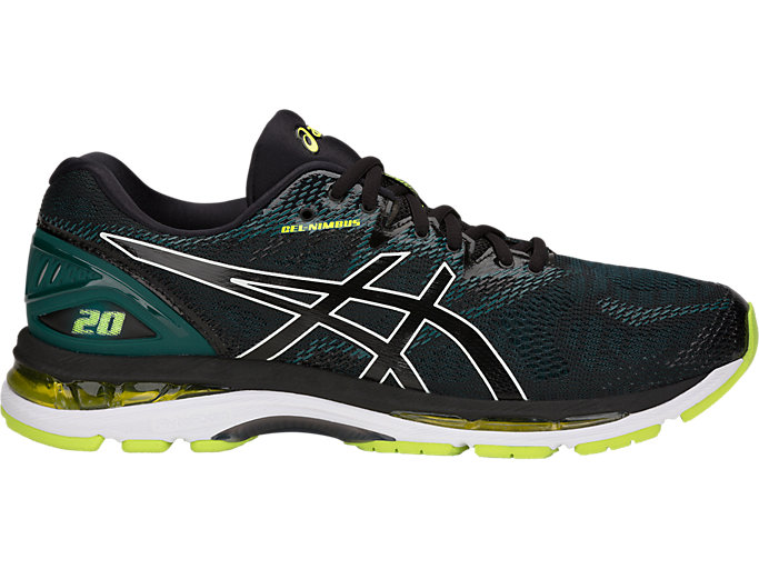 Right side view of GEL-NIMBUS 20, BLACK/NEON LIME