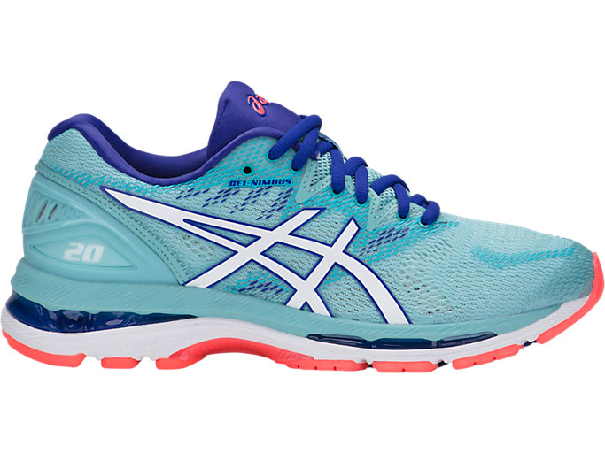 Right side view of GEL-NIMBUS 20, PORCELAIN BLUE/WHITE/ASICS BLU