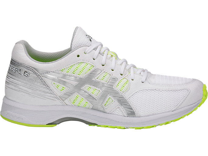 Right side view of TARTHERZEAL 6, WHITE/SILVER/SAFETY YELLOW
