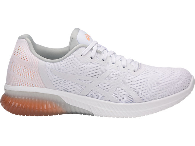 Right side view of GEL-KENUN MX, WHITE/WHITE/APRICOT ICE