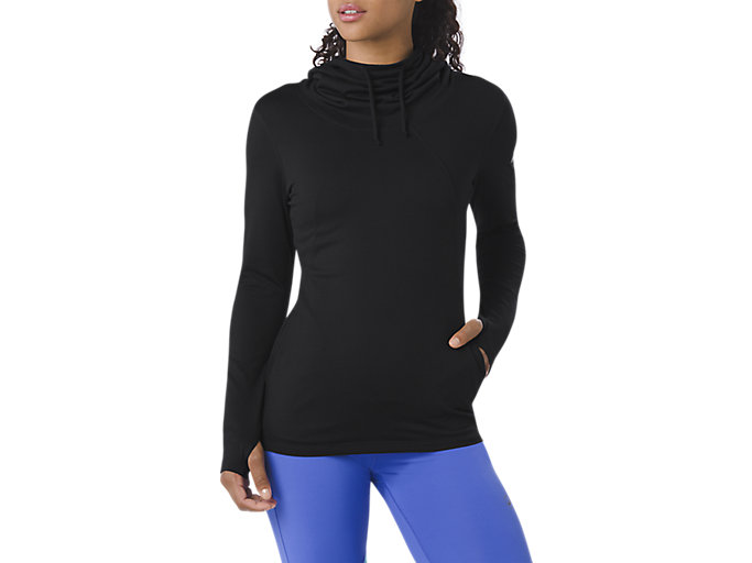 Asics Womens Thermopolis Long Sleeved Hoodie Black Sports Gym Running Hooded