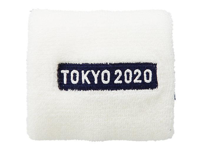 Front Top view of リストバンド(東京2020オリンピックエンブレム), ホワイト