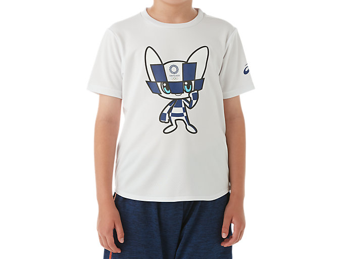 Front Top view of マスコットTシャツKids(東京2020オリンピックエンブレム), ホワイト